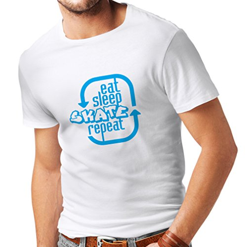 T Shirts for Men Eat Sleep Skate Repeat - for Professional Skater Accessories, Skating Clothing (XXXXX-Large White Blue)