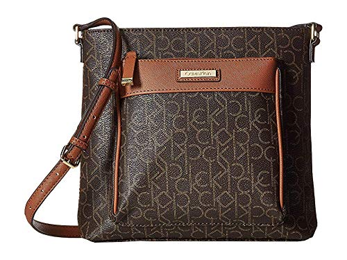 Top Zip Cross Body - Calvin Klein Women's Signature Key Item Top Zip Crossbody Brown/Luggage One Size