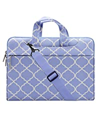 Mosiso Quatrefoil Style Fabric Laptop Sleeve Case Cover Bag with Shoulder Strap for 15-15.6 Inch MacBook Pro, Notebook Computer, Serenity Blue