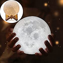 Efanr 3D Printing Moon Lamp with Wooden Stand USB Rechargerable Touch Switch Lunar Warm White Lighting Change LED Magic Night Light Brightness Adjustable Decoration for Home Bedroom (5.90'')