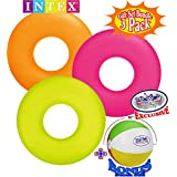 "Matty's Toy Stop Neon Frost Inflatable Tubes (36"") Yellow, Orange & Pink Gift Set Bundle with Bonus 16"" Beach Ball - 3 Pack"