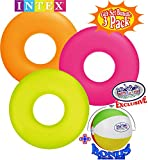Matty's Toy Stop Neon Frost Inflatable Tubes (36'') Yellow, Orange & Pink Gift Set Bundle with Bonus 16'' Beach Ball - 3 Pack