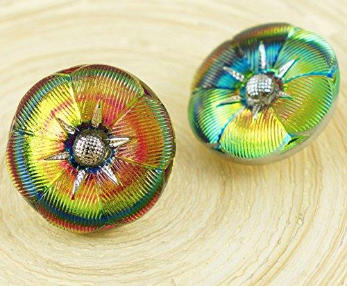 Dichroic Glass Buttons - 1pc Vitrail Medium Yellow Green Silver Star Flower Round Handmade Czech Glass Buttons Size 10 23mm