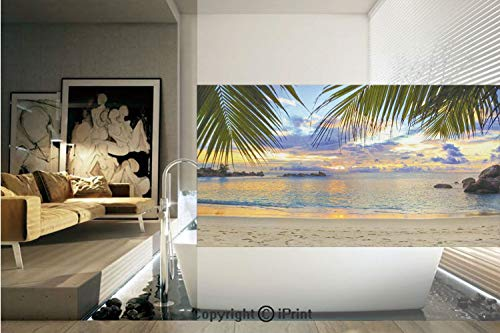 1/2' Vinyl Blind - Decorative Privacy Window Film/Sunset at Beach Rumbling Ocean Luxurious Resort With Palm Trees Travel Locations Picture/No-Glue Self Static Cling for Home Bedroom Bathroom Kitchen Office Decor