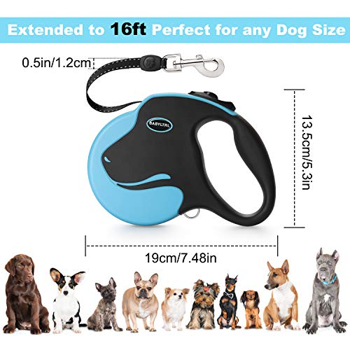 Babyltrl Upgraded Retractable Dog Leash, 360° Tangle-Free Dog Walking Leash for Heavy Duty up to 110lbs, 16ft Strong Reflective Nylon Tape with Anti-Slip Handle, One-Handed Brake, Pause, Lock