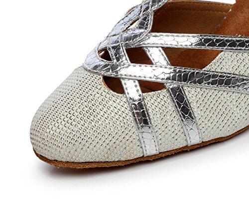 JSHOE Femmes T-strap Glitter Tango Salsa Mariage Chaussures De Danse Latine Fermé-orteil Mid Heel Pump,Silver-heeled7.5cm-UK6.5/EU40/Our41
