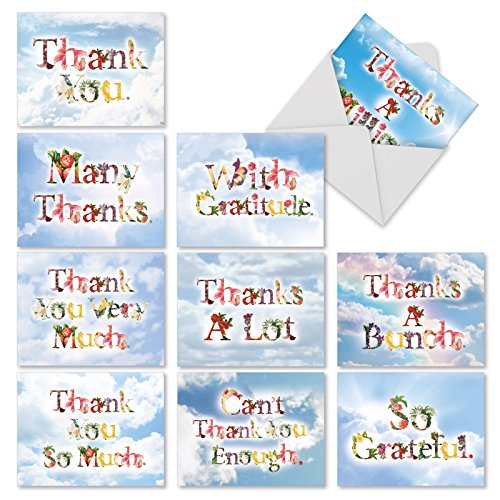 Filled Flower (M2359TYB Thanks A Bunch: 10 Assorted Blank Thank You Note Cards Featuring Flower Filled Fonts That Say Thank You Against a Sky Background, w/White Envelopes.)