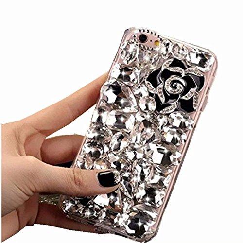 Alcatel Fierce 4 Case,Alcatel Allura Case,Alcatel Pop 4 Plus Full Crystal Diamond Case, 3D Handmade Luxury Sparkle Crystal Rhinestone Diamond Glitter Bling Clear TPU Case (Clear/HeiHua)