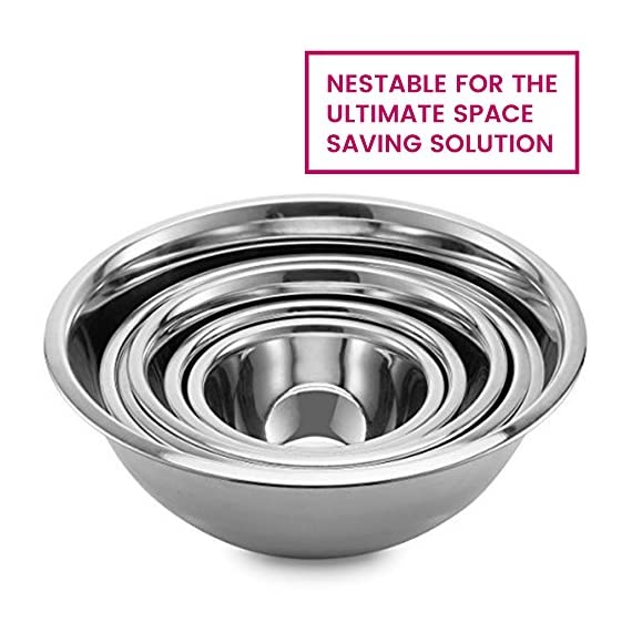 Premium Stainless Steel Mixing Bowls (Set of 6) Brushed Stainless Steel Mixing Bowl Set - Easy To Clean, Nesting Bowls for Space Saving Storage, Great for Cooking, Baking, Prepping 6 SIZED for EVERY TASKS - with range of 6-Sizes ¾, 1.5, 3, 4, 5 and 8 quart metal mixing bowls adds versatility and functionality to your kitchen, for all-purpose kitchen workhorses from prepping, mixing, stirring, to kneading dough like a pro. QUALITY STAINLESS STEEL - features an attractive brushed finish, for an elegant look enhancing your kitchen tools, these metal bowl set are easy to clean, as well as odor, stain and taste resistant. DURABLE yet LIGHTWEIGHT - Our lightweight stainless-steel bowls; ideal for everyday tasks, are made from freezer- and dishwasher-safe, durable shatterproof materials, to last a lifetime.