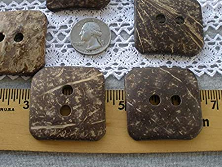 Extra Large 2 inch Square Coconut Shell Buttons 2 Hole sew on 50MM 80L 2