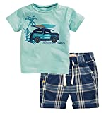 Jobakids Little Boys' Summer Cotton Short Sleeve Clothing Sets (2T, Green)