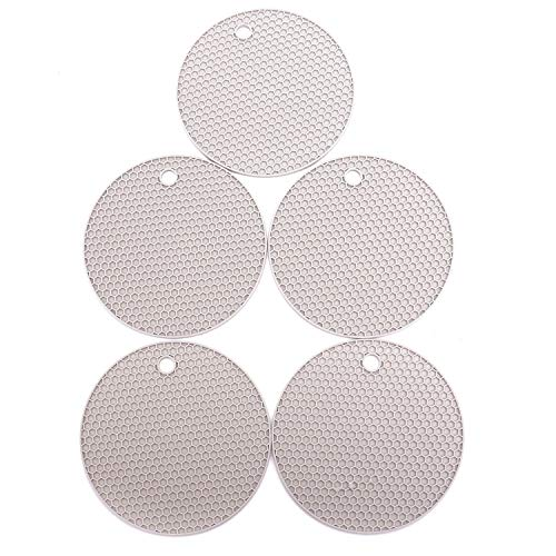 (Monrocco 5Pcs Light-Grey Superior Thick Silicone Hot Pad Trivets Heat Insulated Pads, Cup Coasters & Pans Mat, Multipurpose for Kitchen & Home)