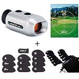 HDE Digital Range Finder Scope w/ 11 Neoprene Golf Club Head Cover Set (Black)