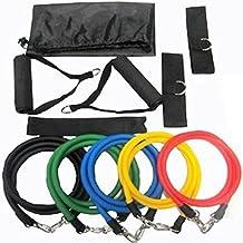11Pcs/Set Natural Latex Exercise Tubes Elastic Training Pull Rope Fitness Resistance Bands Yoga Pilates Workout Cordage (A001)