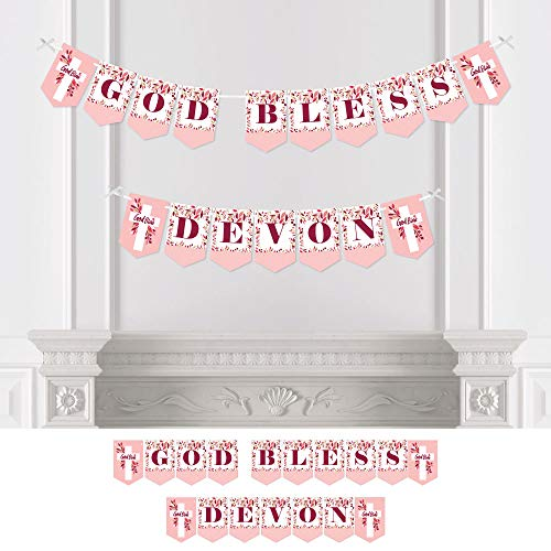 God Bless Pink Cross - Big Dot of Happiness Personalized Pink Elegant Cross - Custom Girl Religious Party Bunting Banner & Decorations - God Bless Custom Name Banner