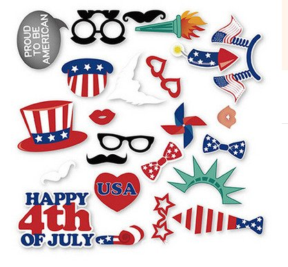 4th JULY DECORATIONS PHOTO BOOTH PROPS INDEPENDENCE DAY OF AMERICA PRODUCT (25)