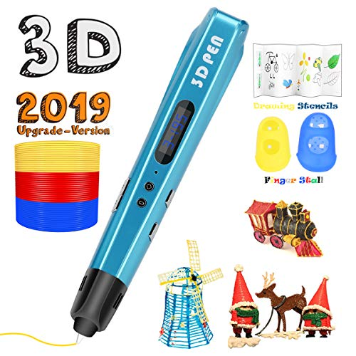 3D Printing Pen for Kids,Uvital 3D Drawing Doodle Printer Pen 【2019 Upgrade Version】Non-Clogging Bonus PLA Filaments Stencil eBook Best Gift for Children Adults Arts Crafts DIY Doodling(Blue)