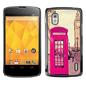 FlareStar Colour Printing Phone Booth Uk United Kingdom Big Ben cáscara Funda Case Caso de plástico para LG Google NEXUS 4 / Mako / E960