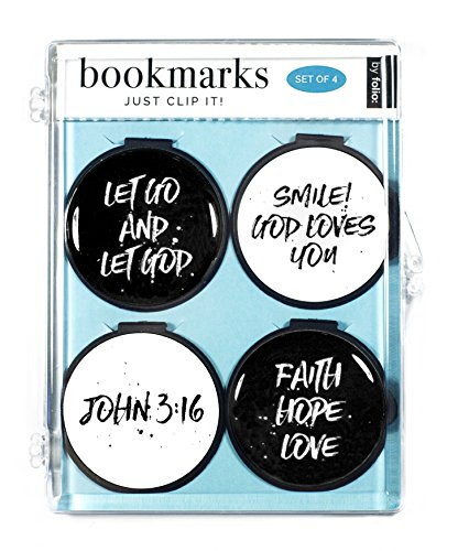 Just Clip it! Quote Bookmarks - (Set of 4 clip over the page markers) - LET GO AND LET GOD, SMILE! GOD LOVES YOU, JOHN 3:16, FAITH HOPE LOVE BW Over Passage Set