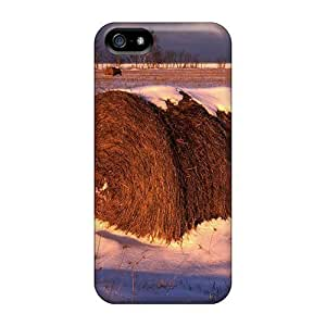 ConnieJCole Case Cover Protector Specially Made For Iphone 5/5s Sunset Light On A Winter Hay Field In Michigan