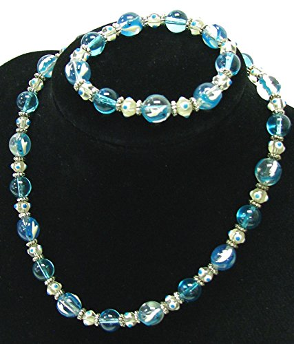 (Linpeng 040803-02 Hand Painted Dolphin On Clear Glass Beads Stretch Bracelet and Necklace in Bag, Aua )