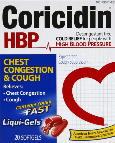 Coricidin HBP Chest Congestion & Cough Liquid Soft Gels, 20 ct