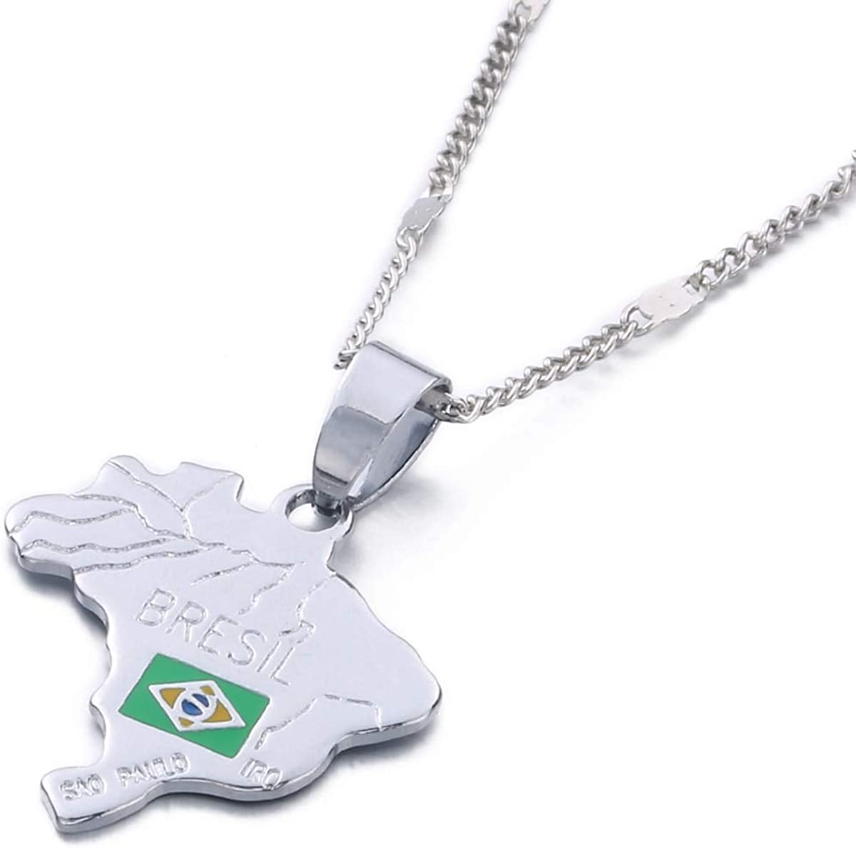 The Federative Republic of Brazil Map National Flag Pendant Necklaces Silver Color Map Chain Jewelry