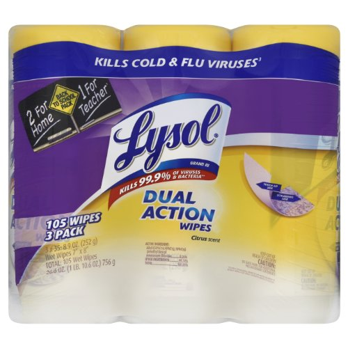 (Lysol Dual Action Disinfecting Wipes w. Scrubbing Texture, 105ct (3X35ct))