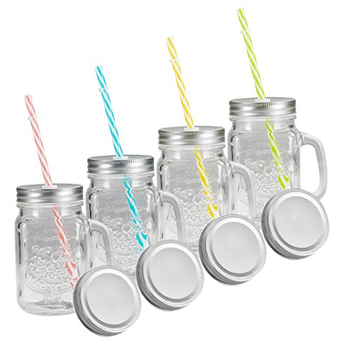 Jar Mugs with Handle, Tin Lid and Plastic Straws - Old Fashion Drinking Glasses - Pack of 4 ()