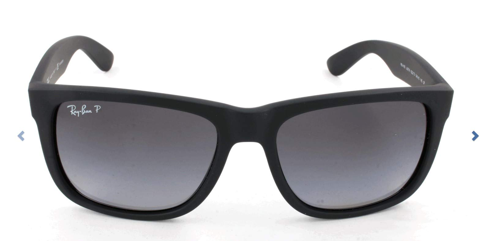 Ray-Ban RB4165 Justin Rectangular Sunglasses, Black Rubber/Polarized Grey Gradient, 55 mm by Ray-Ban