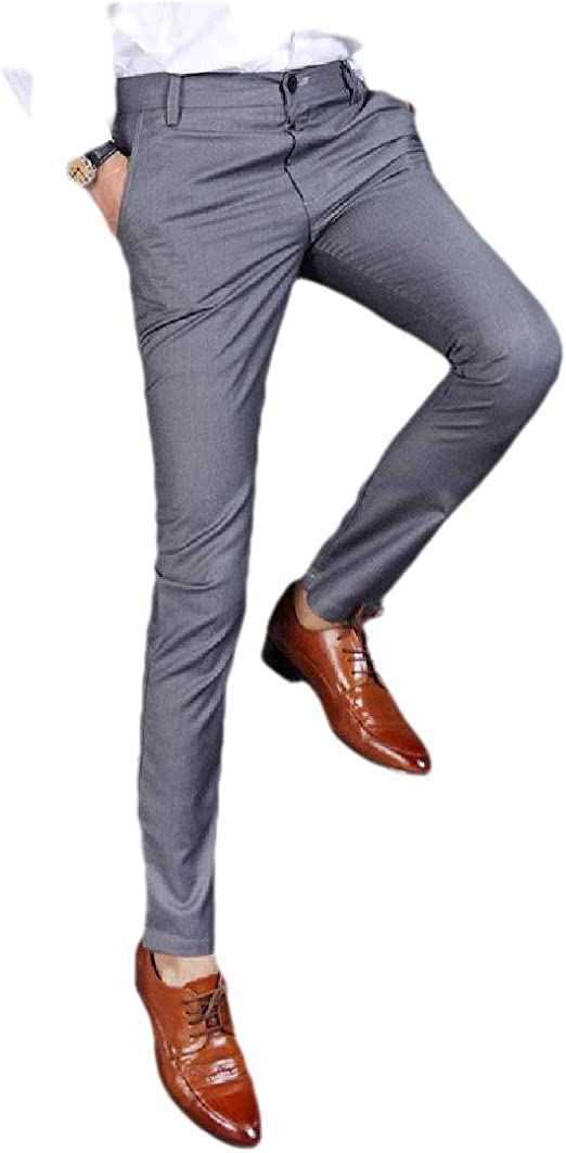 Candiyer Men Cotton Relaxed Fit Business Slim Plain-Front Pant with Pockets