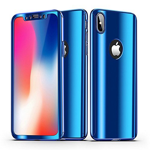 Leagway iPhone X Case Cover, Ultra Slim 360 Degree Full Body Protection 3 IN 1 Anti-Scratch Plating Mirror Case Skin With Tempered Glass Screen + Hard PC Protector for Apple iPhone X / 10 (Blue)