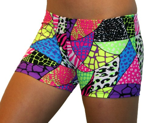 Jungle Safari Spandex Shorts (2.5 In. Adult XXL 16-18, Jungle Safari) by Gem Gear