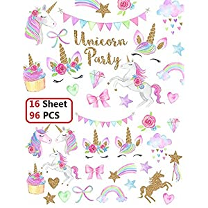 Klmars Unicorn Temporary Tattoos for Kids Birthday Party(16 Sheets-Watercolors with Sparkle Gold Glitter,Perfect for Girls Unicorn Party Favors Supplies