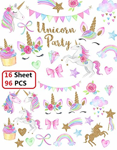 Klmars Unicorn Temporary Tattoos for Kids Birthday Party(16 Sheets-Watercolors with Sparkle Gold Glitter,Perfect for Girls Unicorn Party Favors Supplies -