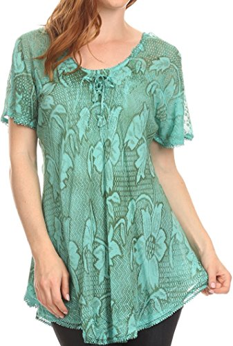 Sakkas 16788 - Maliky Wide Corset Neck Floral Embroidered Cap Sleeve Blouse Top Shirt - Seafoam - - Green Top Sea Embroidered