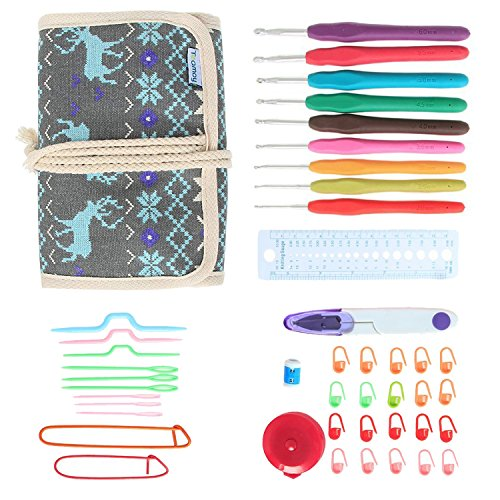 Teamoy Ergonomic Crochet Hooks Set, Crochet kit with 9pcs 2mm to 6mm Rubber Grip Needles and Accessories, Perfect Size for Quick Grab-and-Go by Teamoy