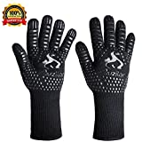 Auzilar BBQ Grill Gloves, 1472°F Extreme Heat Resistant Cooking Gloves, Oven Mitts, Barbecue Gloves for Smoker, 14'' Extra Long Sleeve Heat Resistant Gloves for Cooking, Grilling, Baking