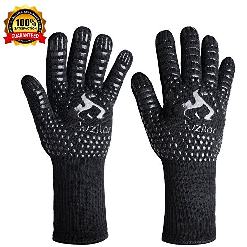 Auzilar BBQ Grill Gloves, 1472°F Extreme Heat Resistant Cooking Gloves, Oven Mitts, Barbecue Gloves for Smoker, 14'' Extra Long Sleeve Heat Resistant Gloves for Cooking, Grilling, Baking by Auzilar