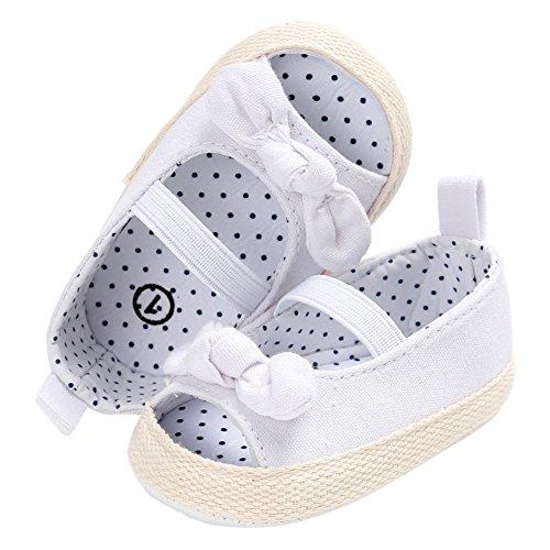 Sandalias De Bebe,BOBORA Prewalker Zapatos Primeros Pasos Para Bebe Mariposa Nudo De Color Puro Bebe Sandalias Antideslizante blanco