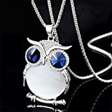 Women Owl Rhinestone Crystal Pendant Animal Long Chain Sweater Necklace Jewelry#by pimchanok shop (White)