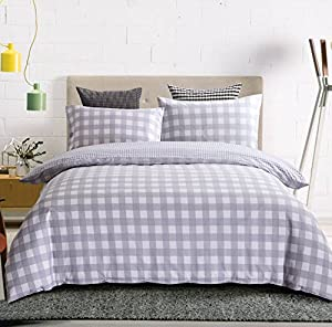 Luxury Hotel Quality 3-Piece Double Brushed Microfiber Reversible Duvet Cover Set with 2 Pillow Shams - Full/ Queen Size, Light Grey Plaid by Exclusivo Mezcla