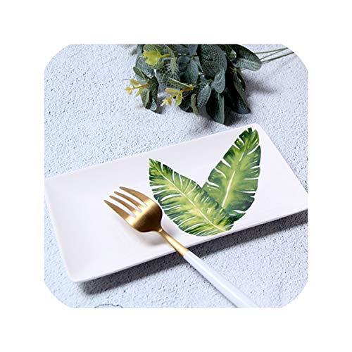 Banana Leaf Porcelain - 8 Inch Round Green Plants Tropical Porcelain Ceramics Plate For Dinner Gift Decoration Western Dish Dessert Plate Frankfurtstyle,banana leaf,8 inch