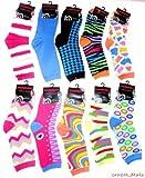 Lot Of 6 Pair Women's Crazy Fun Assorted Prints Design Crew Socks Size 9-11 NEW