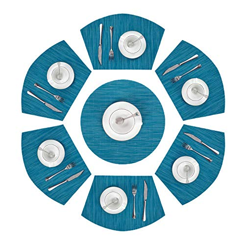 Pauwer Set of 7 Round Table Placemats (1 Pc Round Placemats and 6 Pcs Wedge Placemats) Woven Vinyl Plastic Placemats Washable Wipe Clean(Set of 7,Blue)