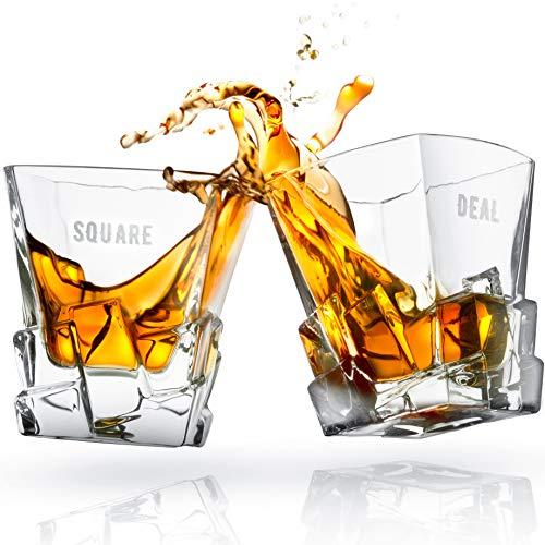 DOUBLE DRAM Square Deal Whisky Glasses Set of 2 | Unique Men