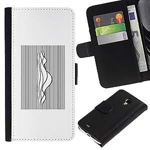 KingStore / Leather Etui en cuir / Samsung Galaxy S4 Mini i9190 / Waves Music Sound Blanco Negro