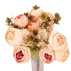 Miaomiaogo 13pcs Artificial Light Pink Peony Bouquet Wedding Party Decorations Home Living Room Decors 119