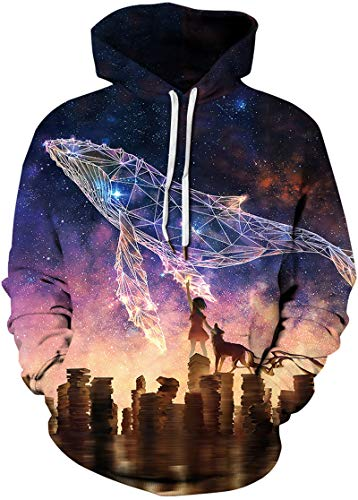 Imilan Men's Pullover Hoodie Galaxy Animal 3D Print Hooded Sweatshirts Unisex (2X-Large/3X-Large, Cosmic Whale 2)