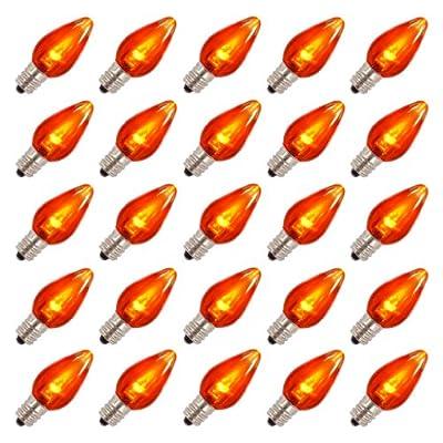 Vickerman 25880 - C7 Candelabra Screw Base Orange LED Transparent (25 pack) Christmas Light Bulbs (XLEDT78)